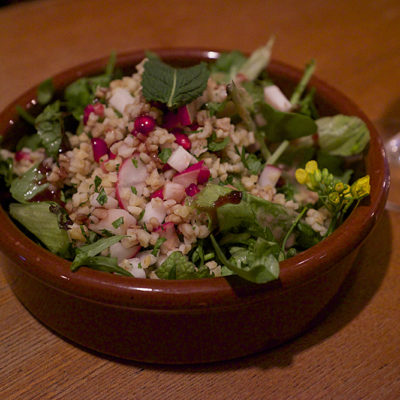 "Oh Man - when I first tried the accompanying beer Boon ""Oude Geuze"" I really didn't like it - it was like old socks. It was tough but this Wild Herb Salad with Bulgur and Pomegranate Seeds was a great match."