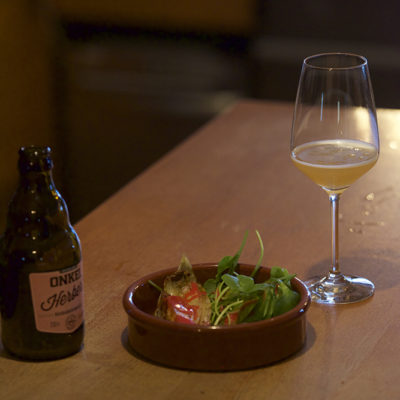 For the second course: A Rhubarb Wheat Beer served with Caramelised Chicory, Winter Purslane and a Tangy Raspberry Dressing.