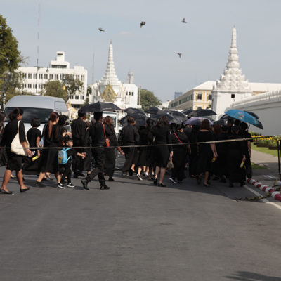 Thousands of black dressed mourners were in the city to pay their respects the king who'd recently passed away.