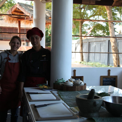 This is Jon. He gives the cookery courses. He reminded me of my current chef. Full of passion and enormous enthusiasm for all that Laos cuisine has to offer. A charming and radient being. And yes the kitchen is completely open!