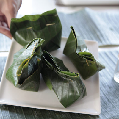 Thes surprise packages are steamed, and the banana leaf gives such an amazing complimentary aroma to the fish inside.