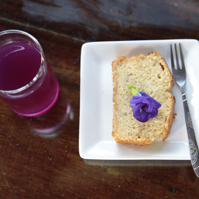 Cover the flowers with water and add a squease of lemon juice for this funky purple thirst quencher.