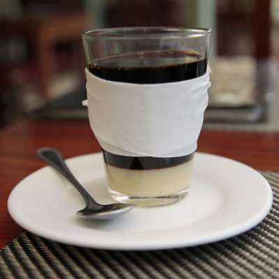 Laos style coffee, it's like drinking liquid silk. That's a layer of condensed milk!