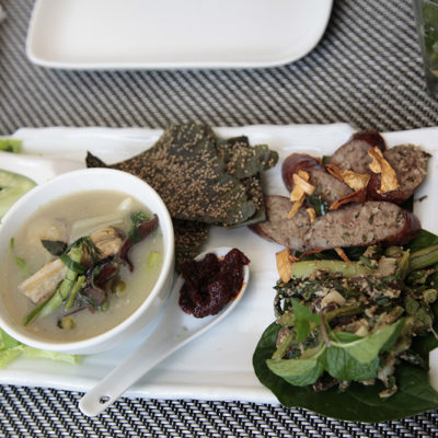 Lao Cuisine classics - spicy pork sausage, chilli dip and crunchy fried seaweed.