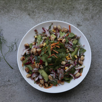 Ginger, Garlic and Dill Salad Dressing with Sweet Chilli Peanuts and toasted Sesame Radishes – Laos Style