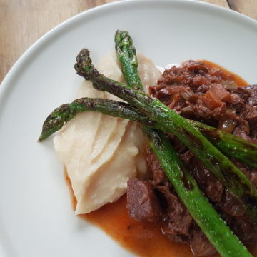 Jack Fruit Ragout with White Bean Puree and Roasted Green Asparagus